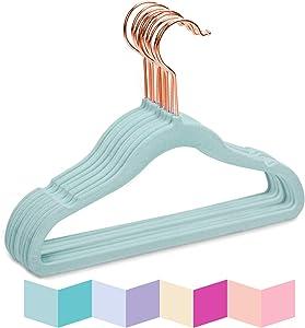 MIZGI Premium Kids Velvet Hangers (Pack of 50) with Copper/Rose Gold Hooks,Space Saving Ultra Thin,Non Slip Baby Hangers for Children's Skirt Dress Pants,Clothes Hangers by (Blue)