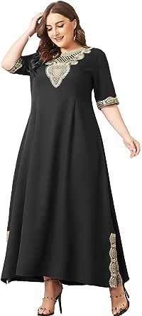 فستان طويل صيفي كاجوال بمقاس كبير واكمام نصف مقسومة للحفلات للنساء من ماي اند فان