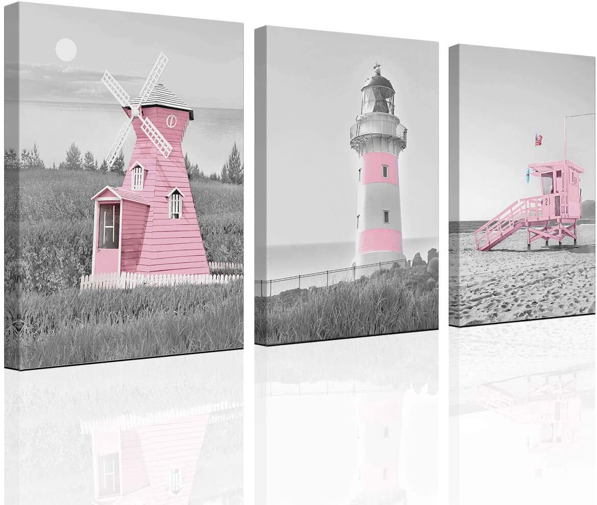 Decor for Bedroom for Girls Pink Ocean Theme Room Decoration Wall art Canvas Black and White Art Lighthouse Picture Decoration Windmill Beach Decoration Painting Bathroom Children's Room Wall Art