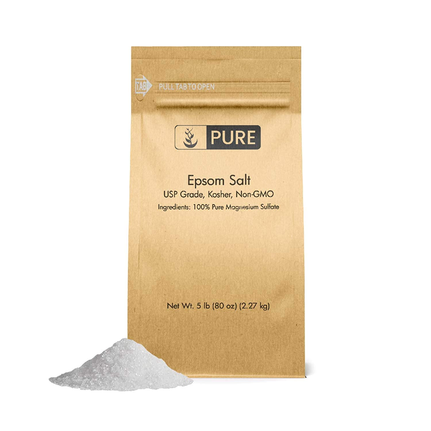 Epsom Salt (5 lb.) by Pure Organic Ingredients, Magnesium Sulfate Soaking Solution, All-Natural, Highest Quality & Purity, USP Grade