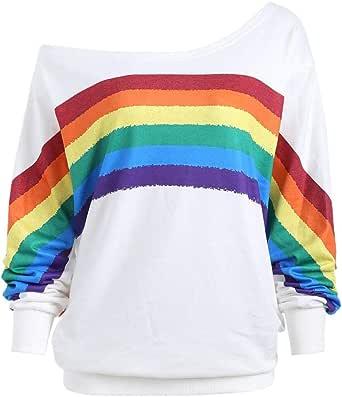 MOVERV Mujeres Otoño Invierno Elegante Camisetas Suéter Fuera del Hombro Rayas Arcoiris Impresas Sudaderas Pulóver Manga Larga Jerséis Tops Sweatshirt