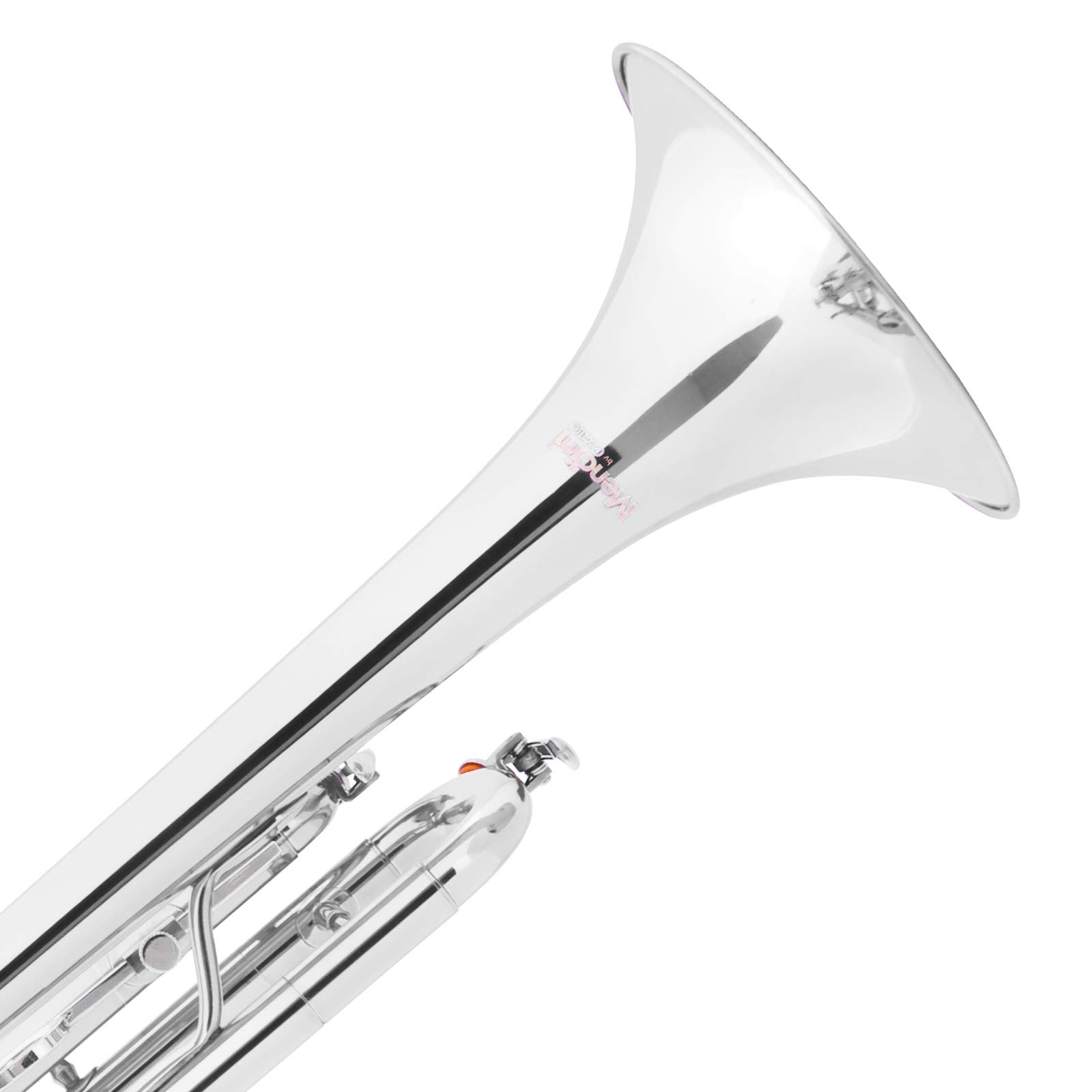 Mendini by Cecilio Brass Bb Trumpet with Durable Deluxe Case and 1 Year Warranty, MTT-N Nickel Plated