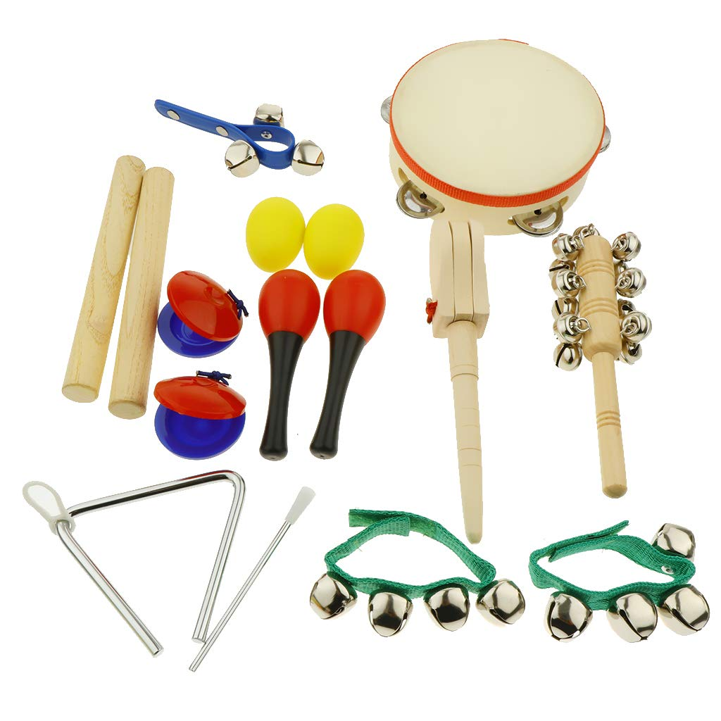kesoto 16pcs Toddler Musical Instrument Toy Set, Tambourine & Sand Egg & Maracas & Hand Drum and More for Kids Children Music Party Toy by kesoto (Image #7)