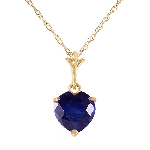 Galaxy Gold 14k 18 Solid Yellow Gold Heart-shaped Natural 1.55 Carat Sapphire Pendant Necklace