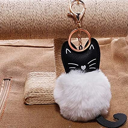 Amazon.com: Rarido Women Fluffy cat Pompom Bunny Keychain ...