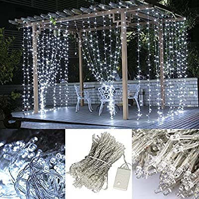 300 Led Window Curtain Icicle Lights Linkable Christmas Curtain String Fairy Wedding Led Lights for Weddings, Party, Home, Garden, Outdoor Wall, Window Decorations 3m3m (Cool White)