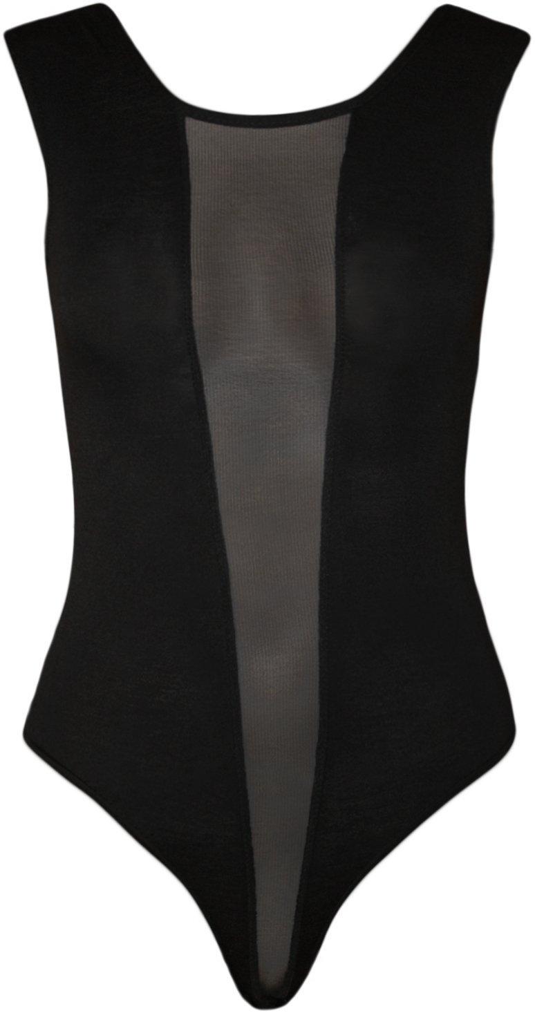 WearAll Women's Mesh Panel Sleeveless Bodysuit - Black - US 4-6 (UK 8-10)