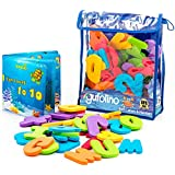 gufolino boo fo Baby Bath Toys - 36 Foam Letters Numbers + Bathtub Toys Organizer Inflatable Waterproof Book Toddlers (Multicolor)