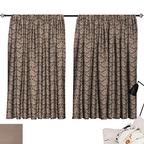 (Jinguizi Antique Curtain Backdrop Venetian Vintage Flowers with Swirling Lines Renaissance Revival Curvy Tile Print Darkening Curtains Brown and Cocoa W72 x L72)