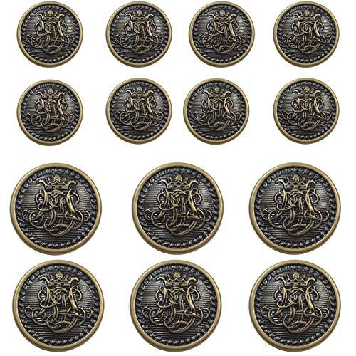 Vintage Antique Buttons - 14 Piece Vintage Antique Brass (Bronze) Metal Blazer Button Set - King's Crowned, Vine Crest - for Blazer, Suits, Sport