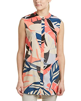 e95ca410d9c Vince Camuto Women's Sleeveless Modern Tropics Button Up Tunic Coral  Passion Blouse