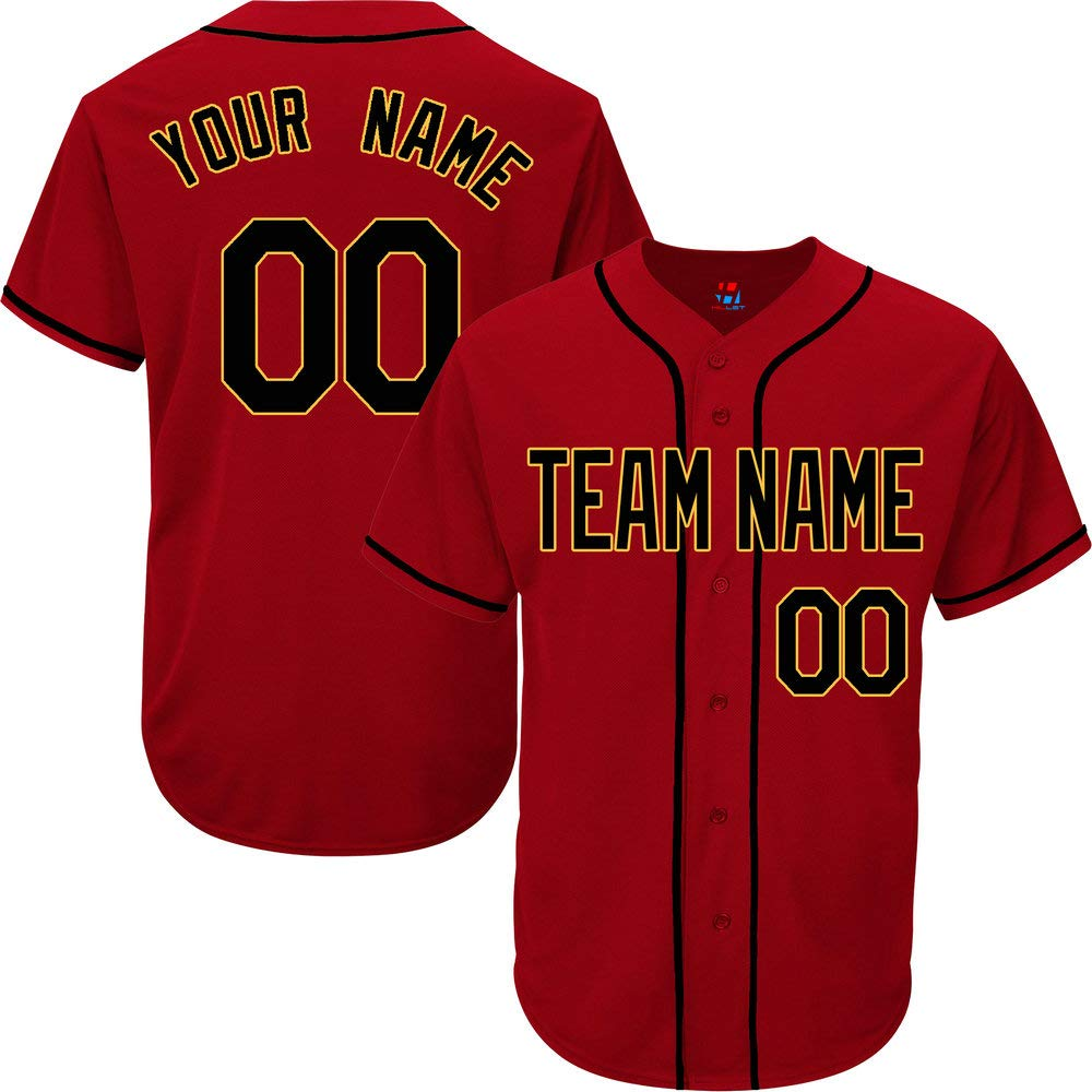 Scarlet Custom Baseball Jersey for Youth Button Down Embroidered Your Name & Numbers,Black-Yellow Size XL by Pullonsy