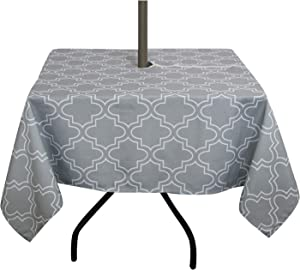 ColorBird Elegant Moroccan Outdoor Tablecloth Waterproof Spillproof Polyester Fabric Table Cover with Zipper Umbrella Hole for Patio Garden Tabletop Decor (Square 60 x 60 Inch, Zippered, Grey)