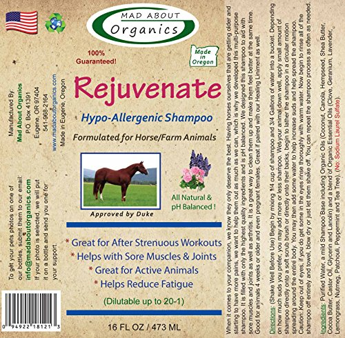 Mad About Organics All Natural Horse/Farm Animal Rejuvenate Hypo-Allergenic Shampoo 16oz by Mad About Organics (Image #1)