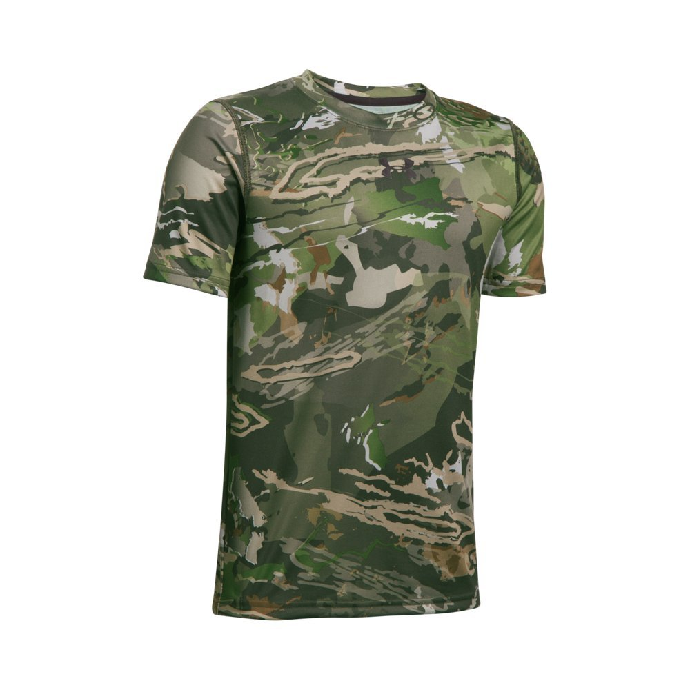 Under Armour Boys Scent Control Tech Short Sleeve Top,Ridge Reaper Camo Fo /Black, Youth X-Large by Under Armour