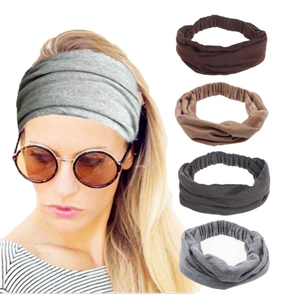 4 Pack Women Elastic Turban Head Wrap Headband Twisted Hair Band Cute Hair  Accessories H1 ( 00e877942359