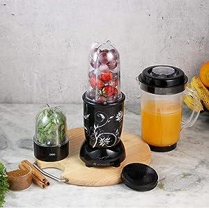 Wonderchef Smoothie, Shake, and Masala Blender Mixer Grinder with Jars, Black