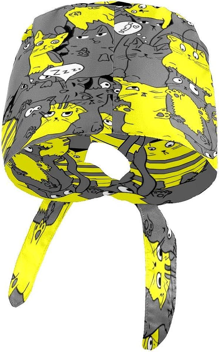ajustable ni/ño y ni/ña con banda para el sudor dise/ño de gato de dibujos animados gris para mujer color amarillo Gorro de trabajo con botones hombre LIUBT