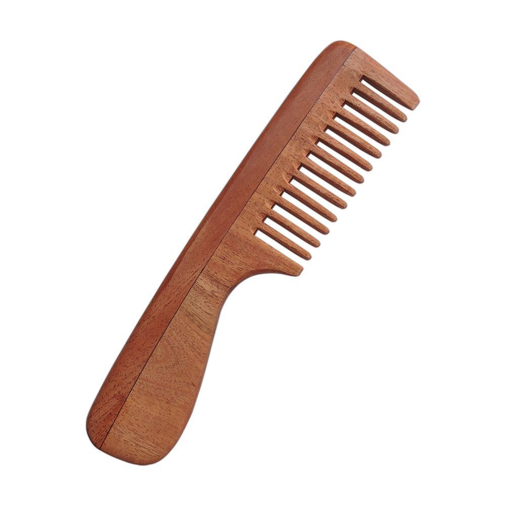 Pure Neem Wood Wide Tooth Comb with Handle for Thick Hair | Neem Comb with Handle For Scalp Care | Organic and Natural | Wide Tooth Comb by HealthGoodsIn