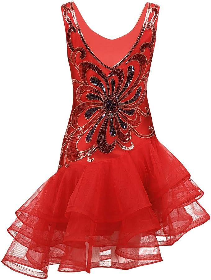 YOOJIA Mujer Vestido Danza Latina Vestido Baile de Salsa ...