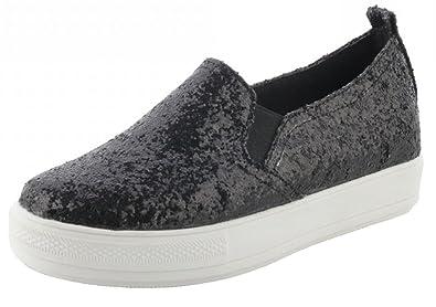 SHOWHOW Damen Flach Plaeau Paillette Slipper Loafers Sneakers Schwarz 42 EU O0LEH