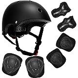 SAITI Kids Bike Helmet Toddler Helmet with Sports Protective Gear Set Knee Elbow Wrist Pads Ages 3-8 Years Old Boys Girls Mul