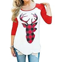 EGELEXY Women Christmas Plaid Deer Print Splicing Long Sleeve T-Shirt Tops