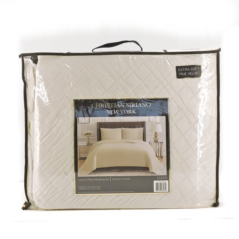 Christian Siriano New York Luxury 3 Piece Velvet Quilt Bedding Set (Queen, Ivory)