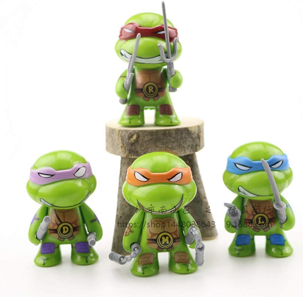 ELSANI 4pcs Teenage Mutant Ninja Turtles Themed Cake Toppers Cupcake Decoration Party Pack