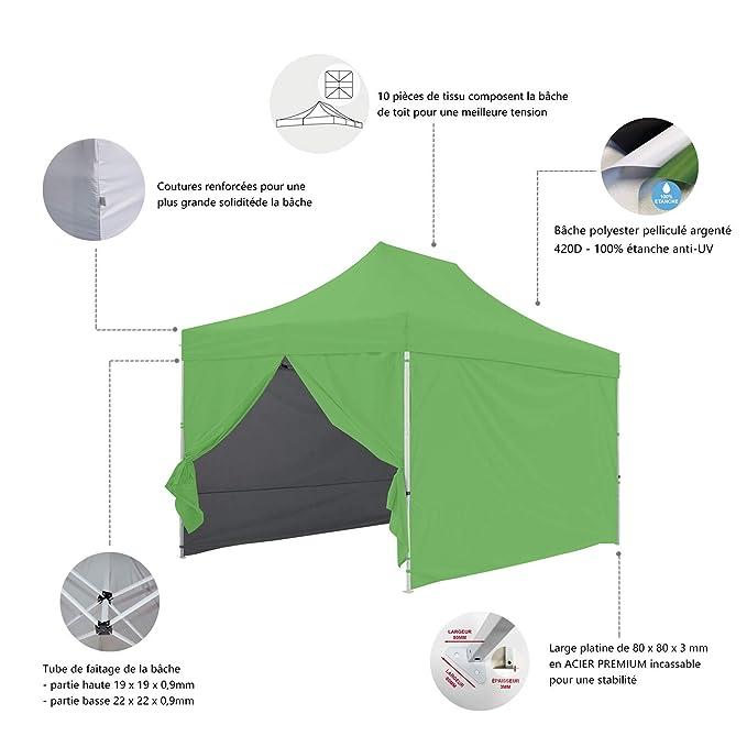 GREADEN de campaña Plegable Verde con 4 Paredes extraíble 3 x 4, 5 ...