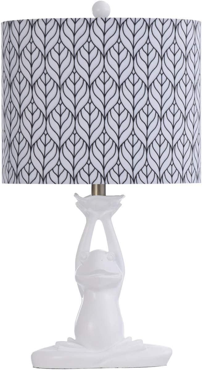 Whimsical White Frog Table Lamp with Navy and White Shade
