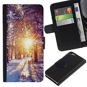KLONGSHOP // Tirón de la caja Cartera de cuero con ranuras para tarjetas - Invierno Amanecer - Apple Iphone 6 //