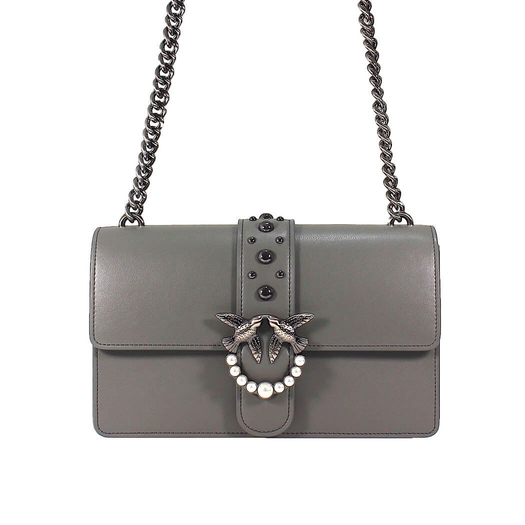 nuovo concetto 262f1 6c3f4 Pinko Love Grey leather bag 1P2109Y3XUI79: Amazon.co.uk ...