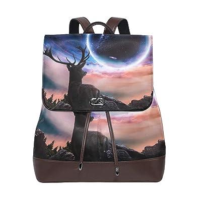 b2133da1ef3 Image Unavailable. Image not available for. Color  Womens Leather Backpack  Sky Deer Star Travel Shoulder Bag ...