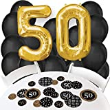 Adult 50th Birthday - Gold - Confetti and Balloon Birthday Party Decorations - Combo Kit