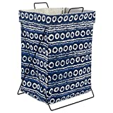 DII X Frame Collapsible Heavy Duty Fabric Laundry Bin Perfect in Your Bedroom, Nursey, Dorm, Closet, Laundry Room, 15'' - Blue Stripes and Circles