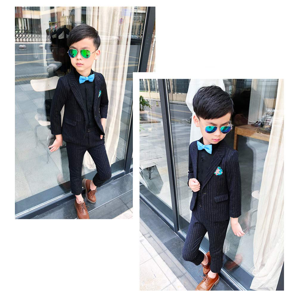 KINDOYO Boys Wedding Suit 2 Piece Black Classic Suit Page Boy Outfit 3-8 Years