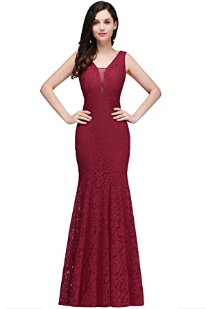 Women Sheer Lace Backless Evening Gowns Wedding Guest Dress Burgundy US2