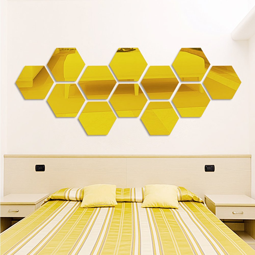 Amazon.com: Zadaro Decorative 3D Mirror Hexagonal Wall Stickers ...