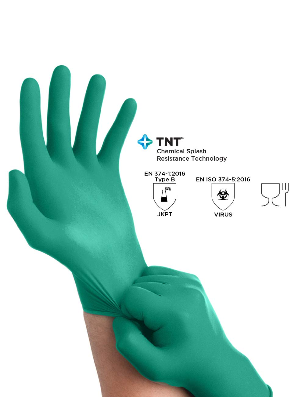 Ansell TouchNTuff 92-600 Nitrile Lightweight Glove with Beaded Cuff, Chemical/Splash Resistance, Powder Free, 4.7mil Thickness, 240mm Length, Size 8, Green (Box of 100) by Ansell (Image #4)