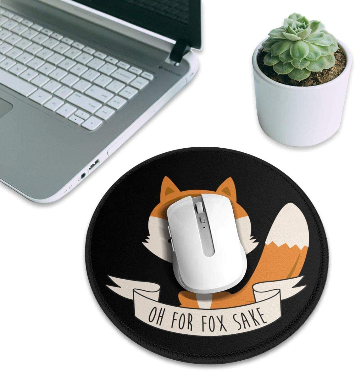 Laptop Office /& Home 7.9x7.9 in 1 PCS OH Fox Sake Round Non Slip Gaming Mouse Pad for Computers