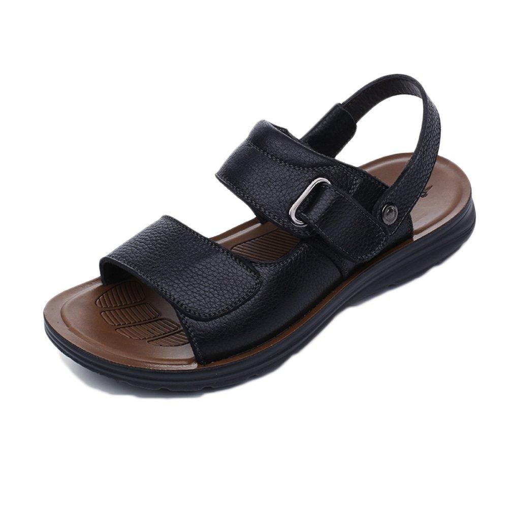snfgoij Sandalias Para Hombres Deportes Al Aire Libre Ajustables Zapatos De Playa Cómodos Verano Punta Abierta Cuero Casual 41 EU|Black