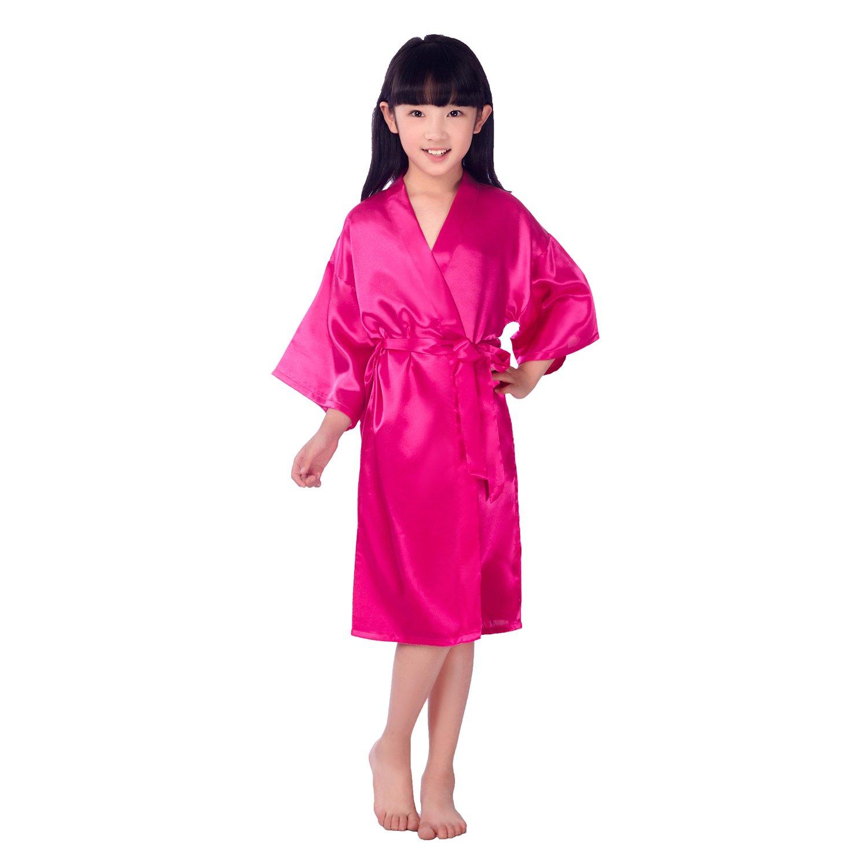 Cute On Kids Childrens Satin Silk Kimono Robe Dressing Gown Bathrobe Nightwear for Spa Wedding Birthday Party Dress