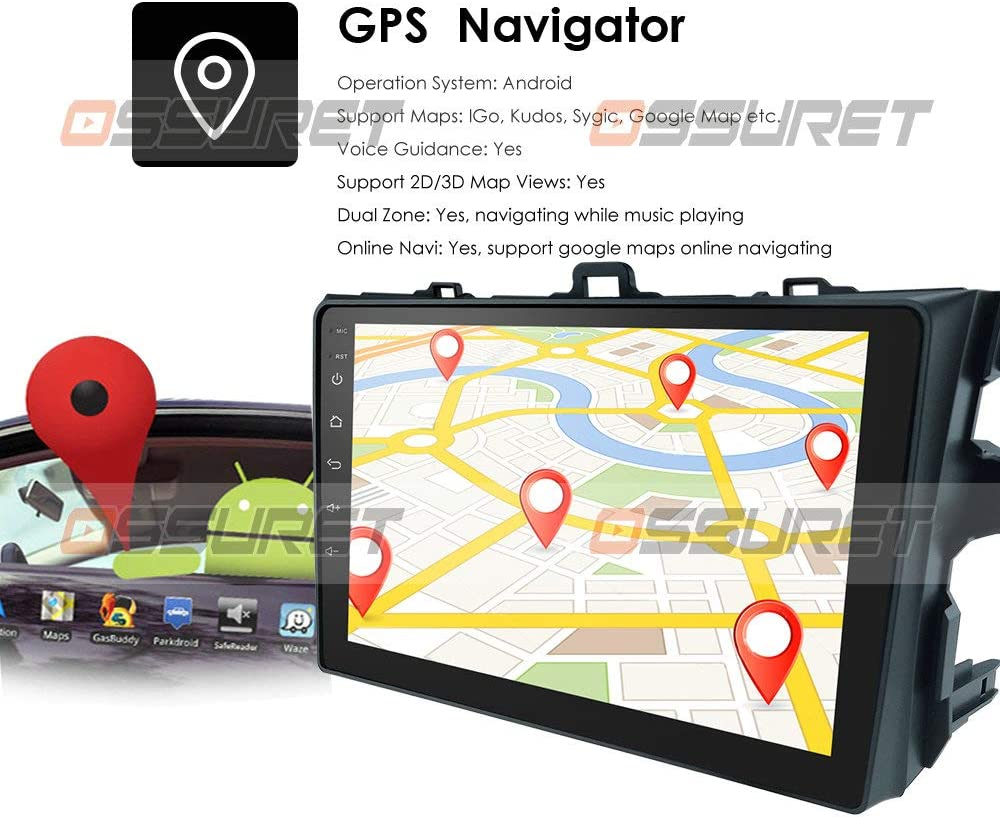 2007-2011 hizpo 9 Inch Android 9.0 for Toyota Corolla Car Navigation Touch Screen Supports Bluetooth WiFi 4G Mirror-Link OBD2 Steering Wheel Control Head Unit with Free Backup Camera