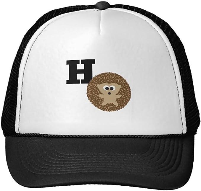 Goodaily Funny Cute H is for Hedgehog Trucker Hat Baseball Mesh Caps Black