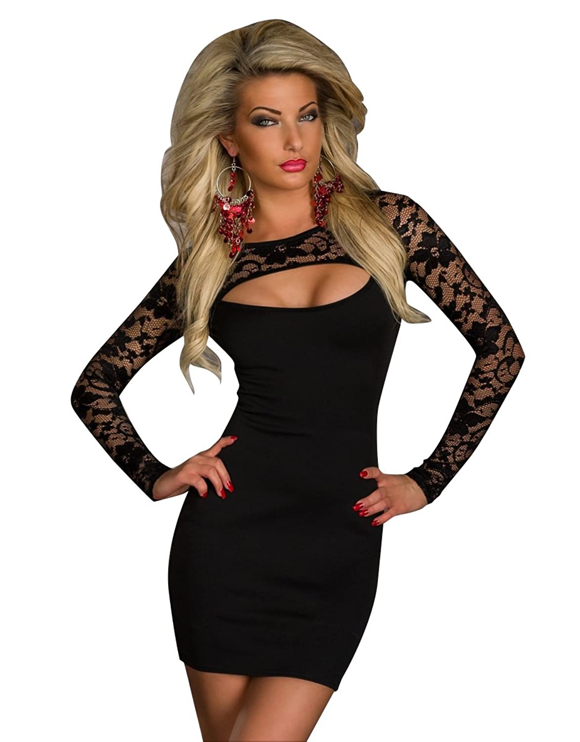 Memorose Women Sexy Lace Long Sleeve Cut Out Front Clubwear Cocktail Mini Dress