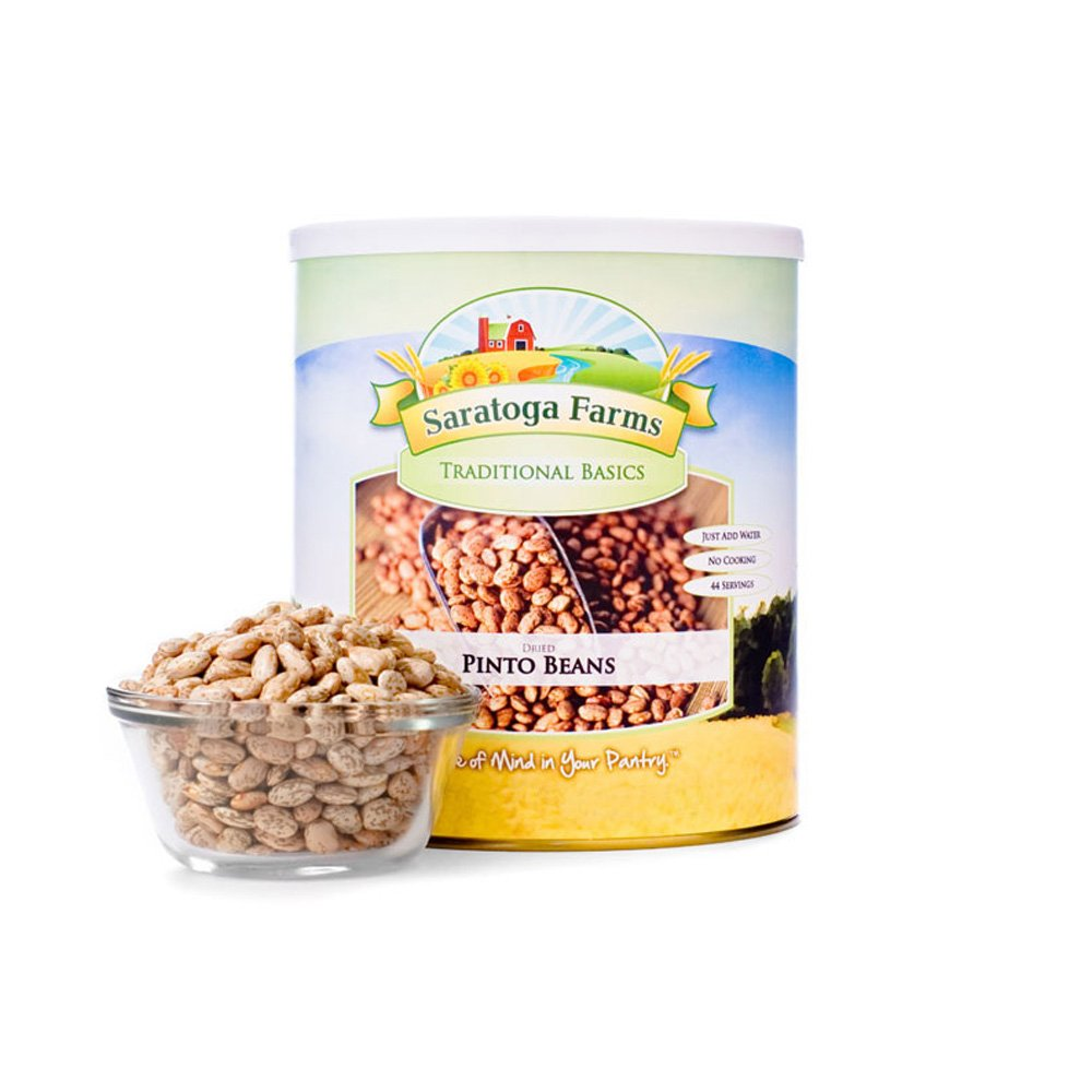 Saratoga Farms Dried Pinto Beans, #1 Emergency Food Storage, 48 Total Servings with a 10-20 Year Shelf-Life in #10 Can (Save More with 1,2,3,4, or 6 Pack)