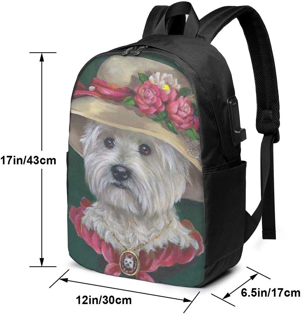 West Highland White Terrier Dog Holiday Personality 17 Inch College School Computer Bag Laptop Backpack with USB Charging Port for Women Men College Student Travel Outdoor Camping Daypack
