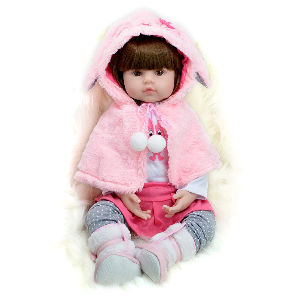 Real Life Reborn Baby Doll Toddler Girl Silicone Pink Outfit with Cloak 24 Inches Yesteria