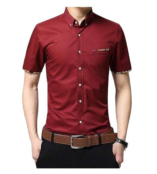pipigo Men Short Sleeve Button Front Casual Summer Checkered Fashion Shirt